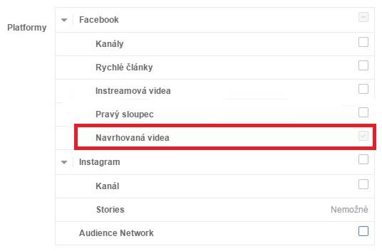 Facebook formát odporúčane videá